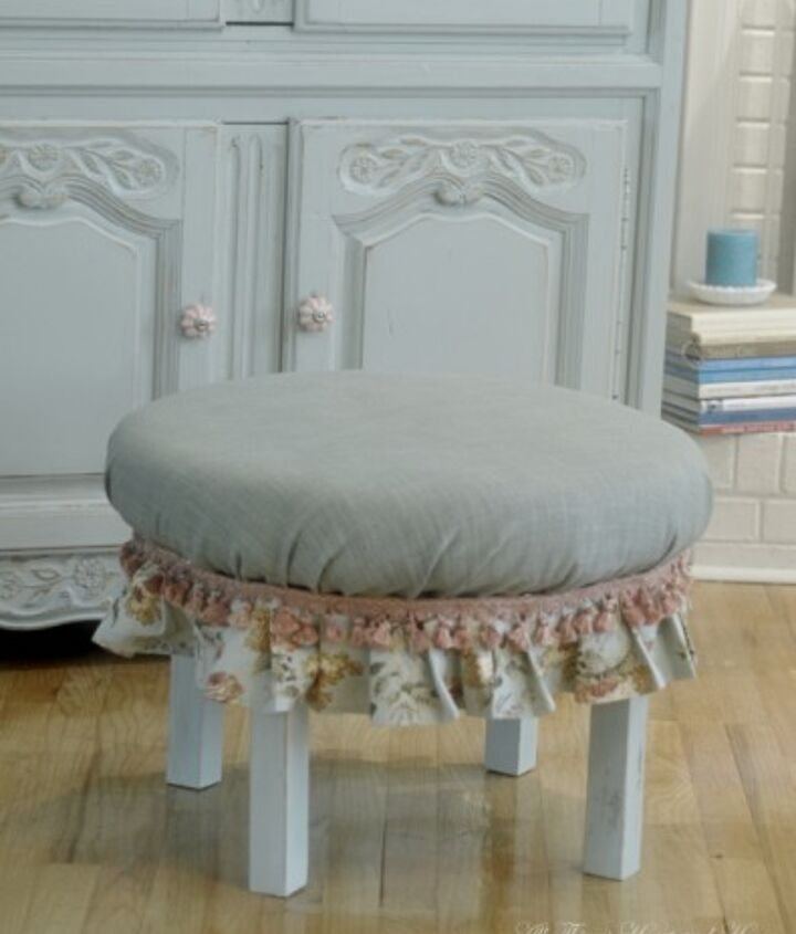 This little ottoman started life as an end table!