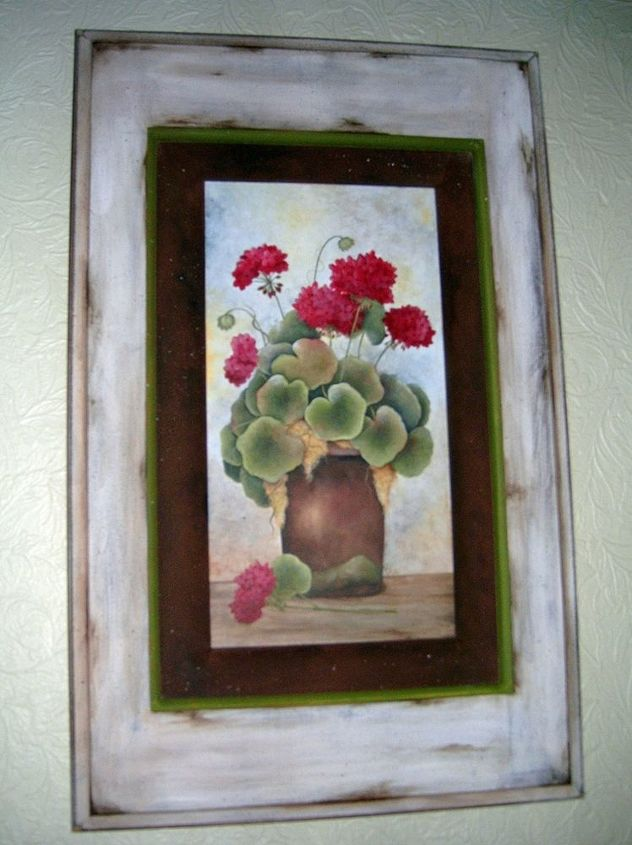 Geraniums by GranArt, acrylic painting on a cabinet door.