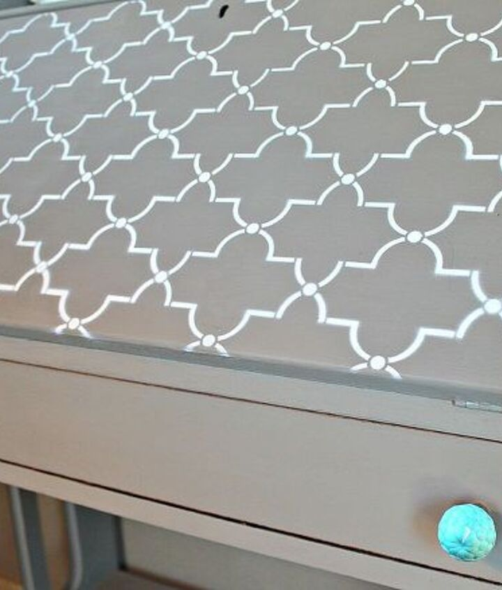 Stenciled top & turquoise glass knobs