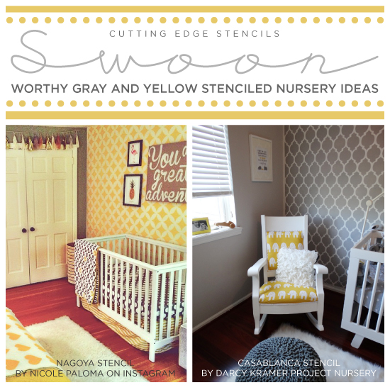 swoon worthy yellow and gray stenciled nurseries, bedroom ideas, painting