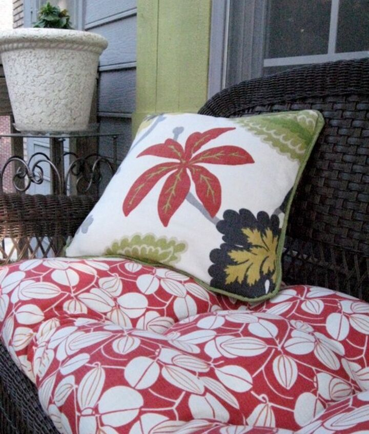 I made the square pillows from fabric found at Old Time Pottery.