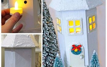 diy white christmas village, christmas decorations, crafts, seasonal holiday decor, wreaths, Drill a small hole in the back that a batter powered candle can fit into to give your house light