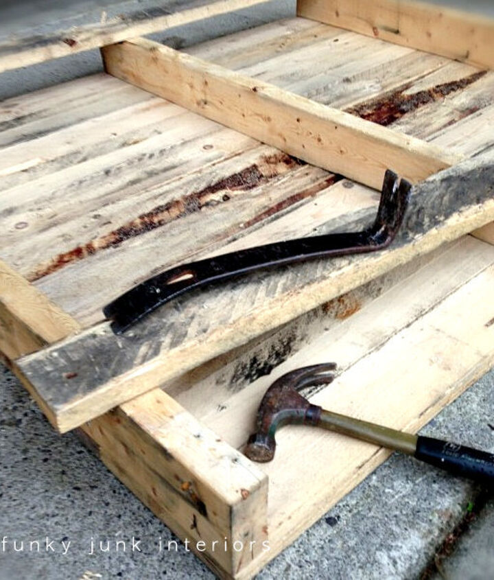 This pallet had straight nails so it was a breeze to take apart with a hammer and crowbar. The wood then received a good sanding and dry fit after the pieces were cut.