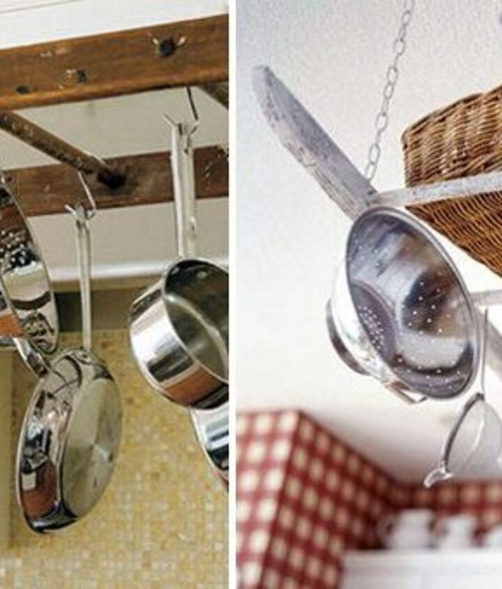 Open shelving is the way to go when it comes to kitchen design. Why spend a small fortune on a rack when you can have your own, unique utensil hanger made from your old wooden ladder?