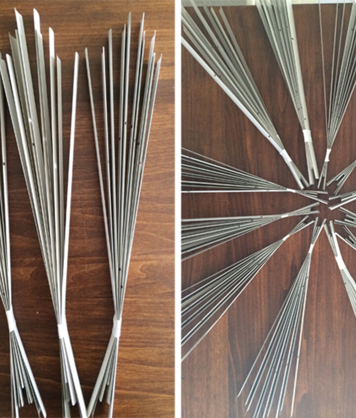 diy sunburst mirror under 10, crafts, Bunch 5 pairs together to create a fan Duct tape the fan together the tighter the better
