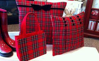 tartan plaid pillows made from an old dress, repurposing upcycling, seasonal holiday decor