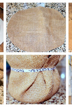 burlap rubber bands and herbs, container gardening, crafts, gardening, repurposing upcycling, tutorial on using burlap and rubber bands