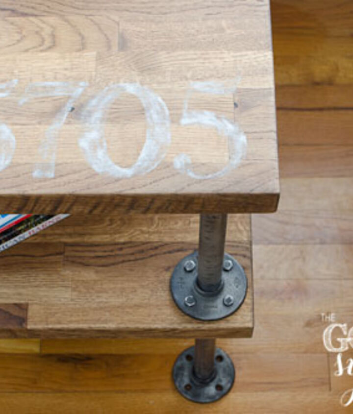 Custom industrial table with hand painted numbers