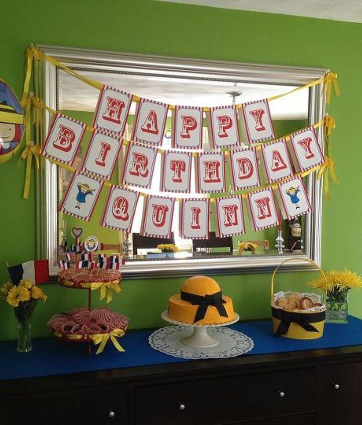 banner, cake, cream puffs, balloon, pedestal, flowers, buffet, dessert