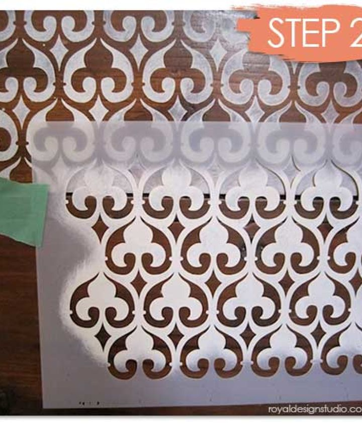 Our Moorish Fleur de Lis stencil is a perfect design to transform this old dresser into a statement piece! http://www.royaldesignstudio.com/products/moorish-fleur-de-lis-moroccan-stencil