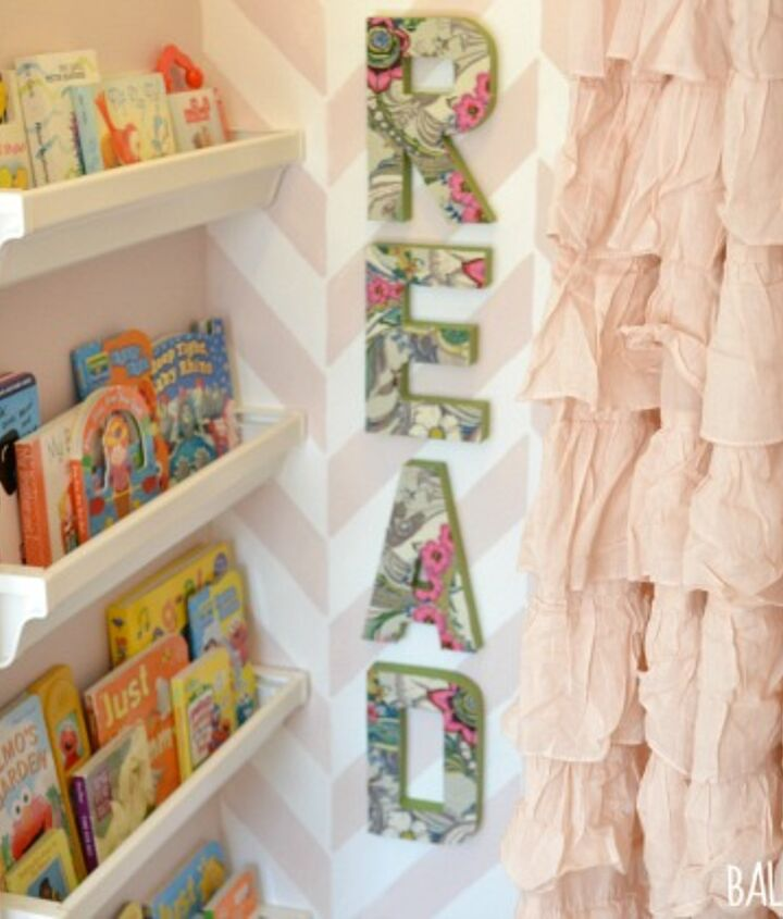 Reading Nook- Gutter Bookshelves, Mod Podge Letters