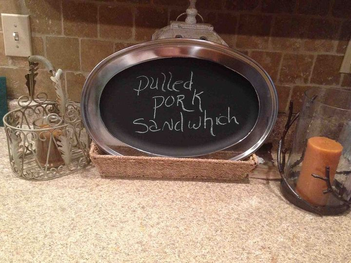 Old silver Tray!  Chalk Painted and a little fun!  Especially for Dinner Parties!