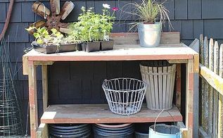 potting table made from reclaimed wood, chalk paint, diy, gardening, outdoor furniture, outdoor living, painted furniture, woodworking projects