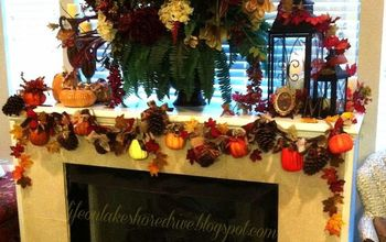 fall mantel garland using pine cones pumpkins leaves and fabric, crafts, fireplaces mantels, repurposing upcycling, seasonal holiday decor, Pine Cones Pumpkins Leaves and Fabric Fall Garland