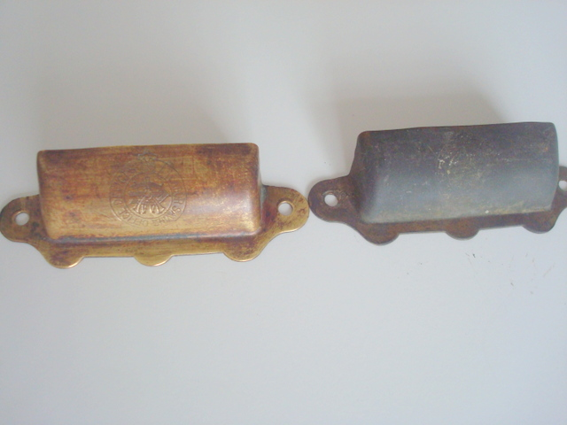 i scrubbed the one on the left with a kitchen scrubby but how do I give it a proper cleaning?   The emblem on the handle says: LABOR SAVING OFFICE DEVICES and I'd love to know more about these!