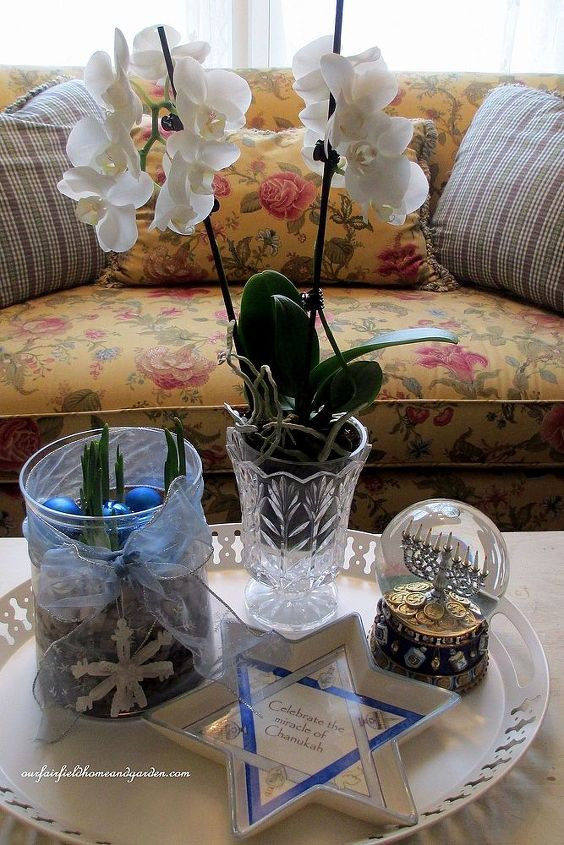 paperwhites, orchid and Chanukah decorations on the coffee table