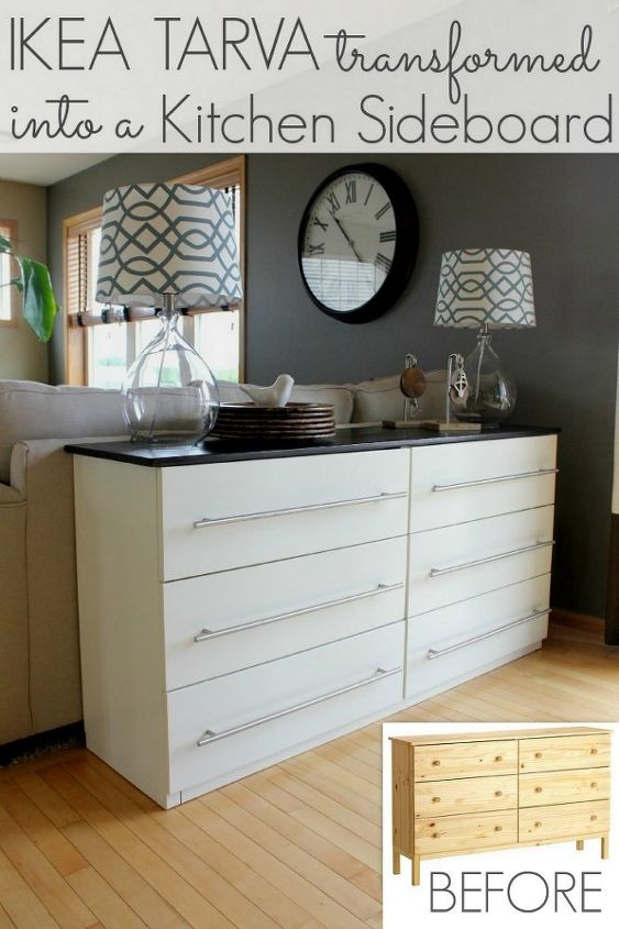 ikea tarva dresser transformed into a kitchen sideboard hometalk. Black Bedroom Furniture Sets. Home Design Ideas