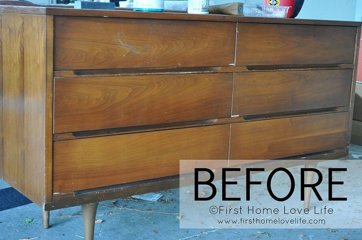 Painted Mid Century Modern Dresser Chalk Paint Furniture Before