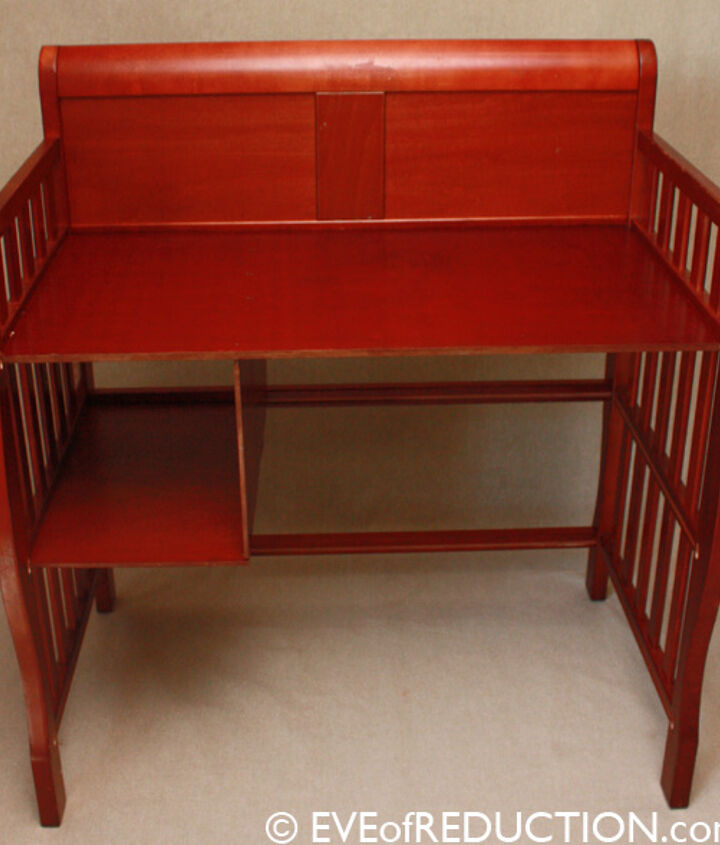 After photo of baby changing table upcycled into a desk