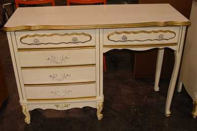 french provincial desk makeover, painted furniture, Before