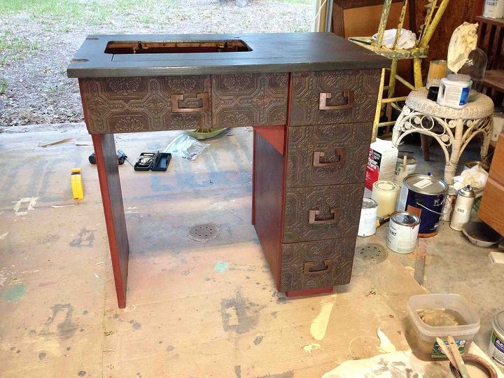 sisters sewing machine cabinet, painted furniture, repurposing upcycling