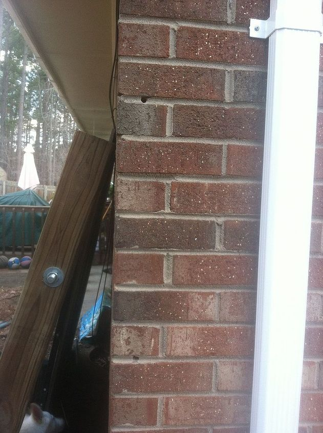q i am trying to find a way to connect my gate to my brick house without the weight of, curb appeal, fences, You can see the 4x4 leaning against the house and the holes where the cement screws were driven in in the beginning