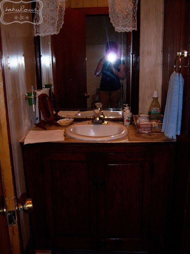 The view of the old sink, where the tub is now. And yes, it may not look like it, but I am wearing pants in this photo. Khakis, as it was the day of our inspection and I was trying to look like a grown up.
