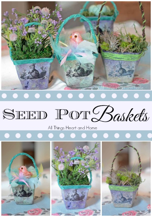 Just in time for Easter/Spring! These little seed pot baskets are perfect for party favors, teachers gifts or just to decorate your home!