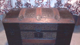 q how do i restore antique box table trunk hutch amp dresser that i inherited from, painted furniture, Antique Trunk