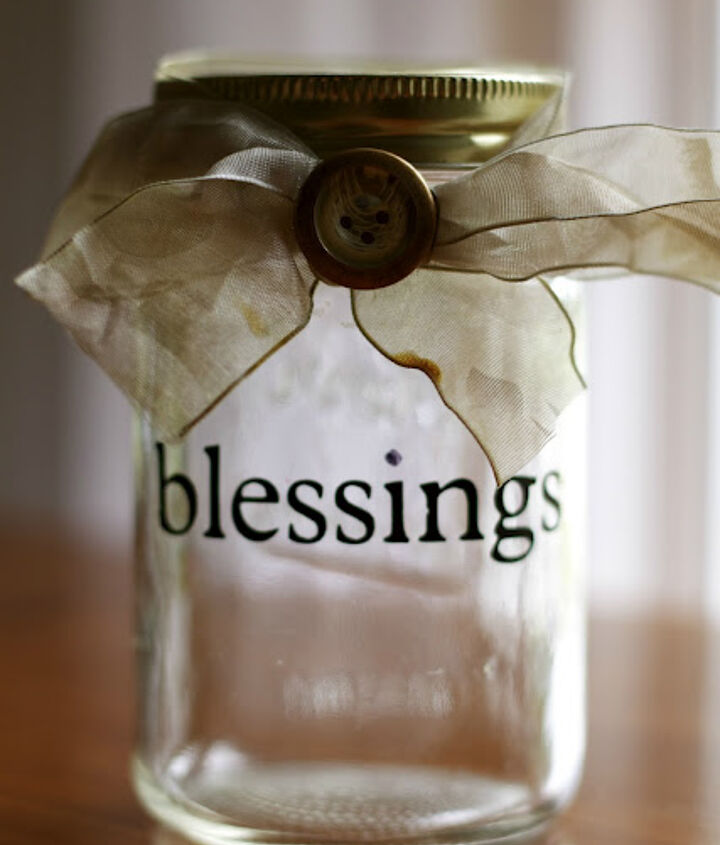Our blessing jar, empty and waiting to be filled!