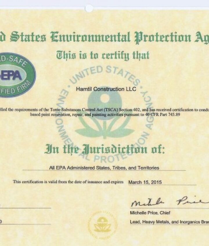 "This is an example of an EPA ""Firm Certification"" that anyone working in a pre-1978 home must possess."