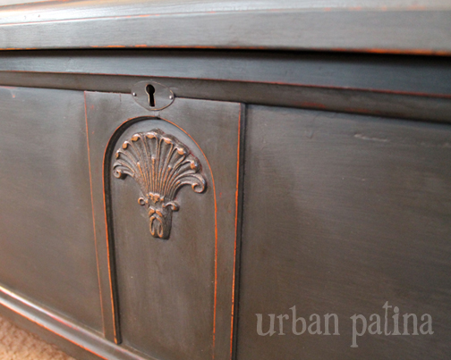cedar trunk makeover, painted furniture, repurposing upcycling, Lovely detailing on the front pops with the Annie Sloan Graphite paint