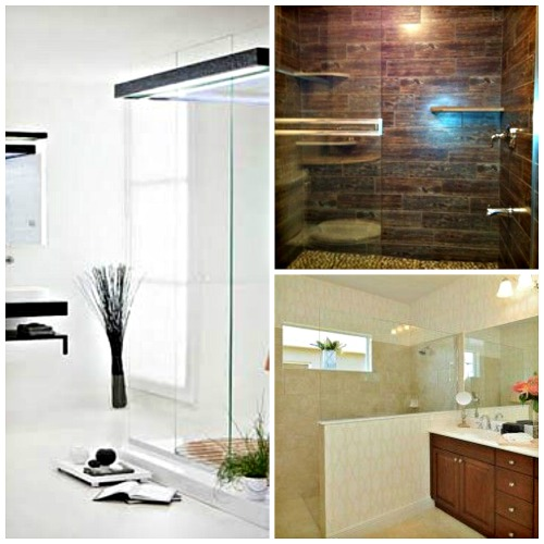 Three Roman shower looks - focuses on the shower and makes the bathroom look bigger..