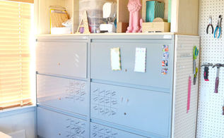 home office and craft room makeover, cleaning tips, craft rooms, home office, storage ideas, Built in second hand filing cabinets overhead shelving and space saving pegboard