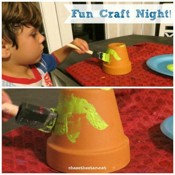 DIY Terra Cot Pot Tower: Made it a fun craft night with my lil guy!