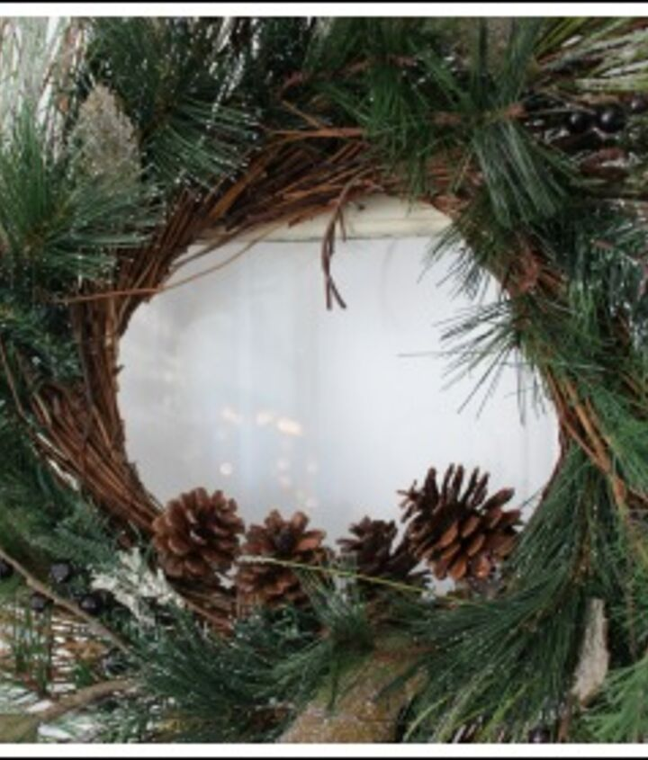 I hot glued pine cones in the middle of the wreath.