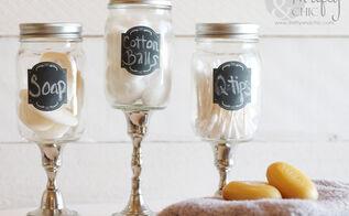 mason jar apothecary jars, chalkboard paint, crafts, mason jars, repurposing upcycling, Mason Jar Apothecary Jars Perfect for bathroom storage