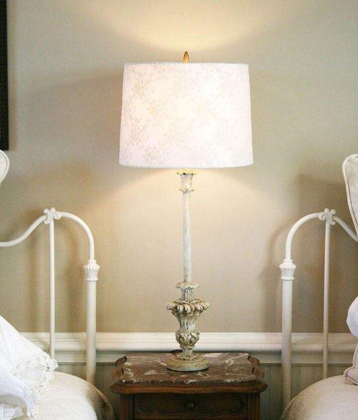 old lamps that I painted with homemade chalk paint, lampshades from Tuesday Morning