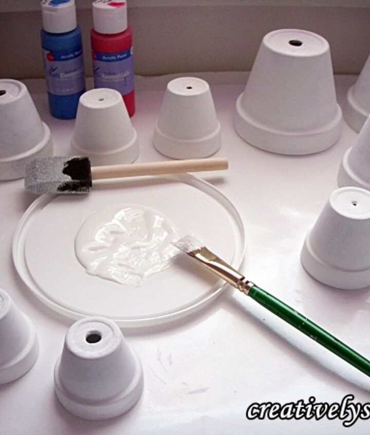 terra cotta wind chime, crafts, Base coat the pots inside out with white acrylic paint to ensure that the paint color used is true
