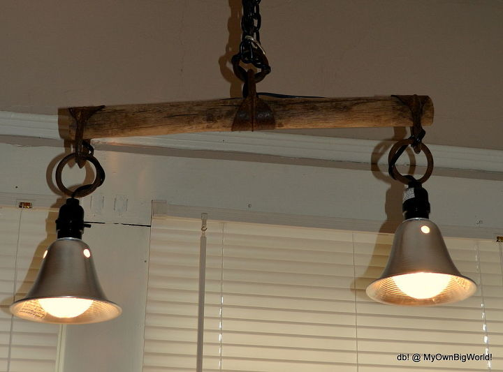 antique yoke double light, lighting, repurposing upcycling, It is a hanging light but each individual lights has their own on off switch