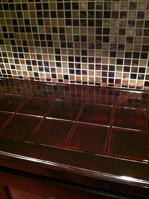 I used the same stain with poly that I used on the cabinets and I like the results