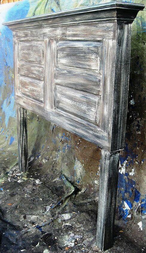 queen size distressed 4 panel door headboard, doors, home decor, painted furniture