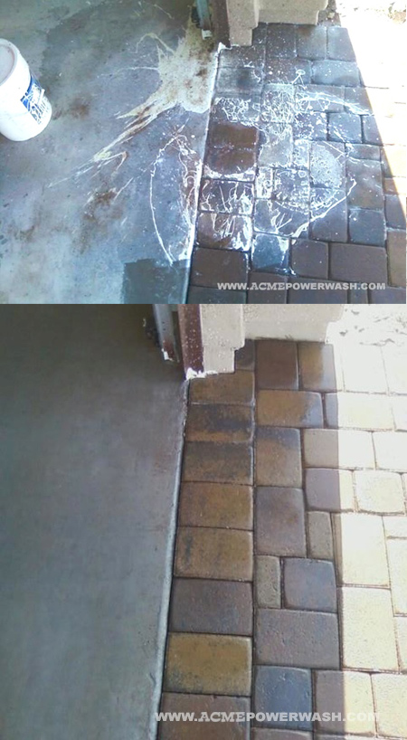 paint removal from concrete and pavers, cleaning tips, concrete masonry, garages, Before and after photos of a paint spill we cleaned up recently for a Phoenix area home builder