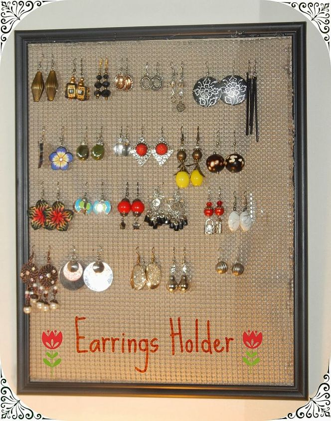 earrings holder, cleaning tips, repurposing upcycling