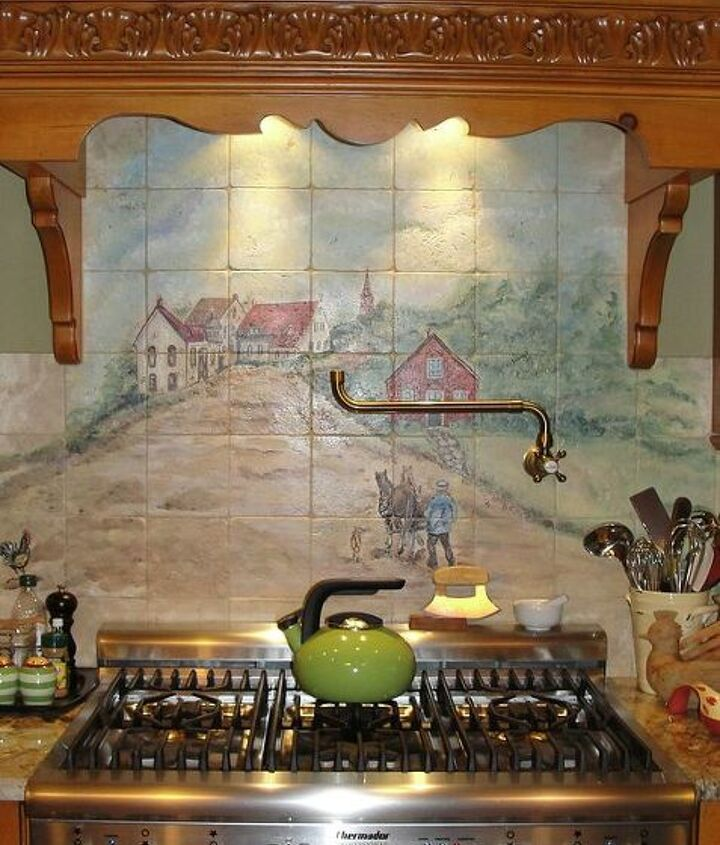 A local artist painted a French Country scene with all of our names within the painting.  The tiles were then fired to bake the finish. By using local, it really was not a major expense.