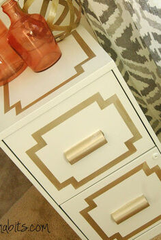 glamorous file cabinet makeover, painted furniture, AFTER This File cabinet is such a simple upgrade from the original boring piece The change was completed with primer painting tape gold paint and White Dove Advanced Paint