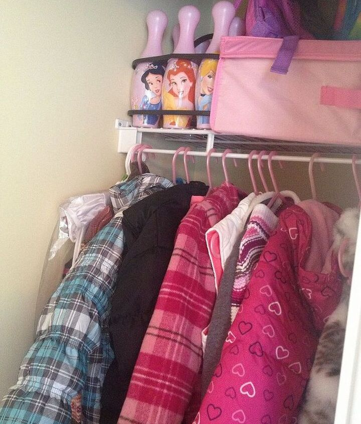 On the other side of her closet her jackets are neatly hung