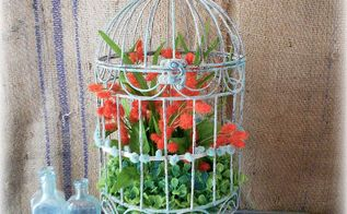 springtime birdcage anyone can make, crafts, painting, repurposing upcycling, green orange and turquoise combine to create pretty spring decor
