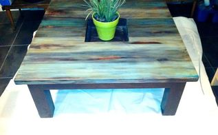 coffee table rustic redo for 5, painted furniture, rustic furniture, After I plan to fill the center with some smooth gray rocks before I put it up for sale on Craig s List any other suggestions of what to put in the center