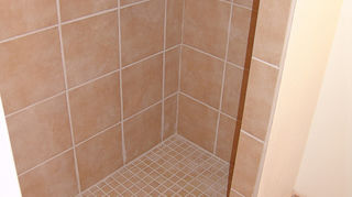 travertine in wet areas, flooring, kitchen backsplashes, tile flooring, tiling, ceramic mosaic over a poured cement pan